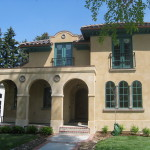 Spanish Mission Style house with Arches on Front Porch